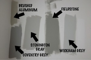 a selection of Benjamin Moore grays/greys